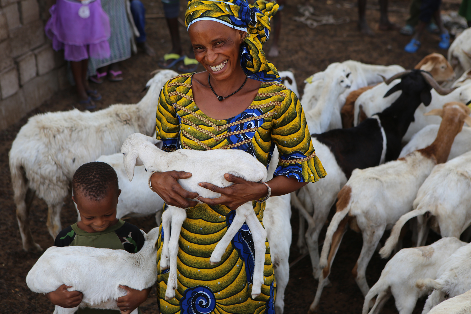 Woman holding sheep in Senegal