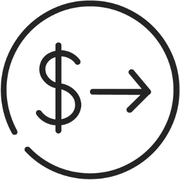 Loan icon (dollar symbol and arrow)