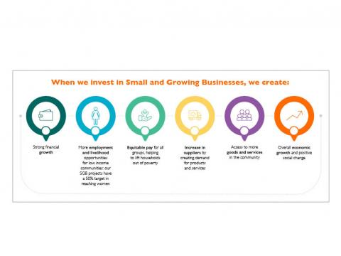 Small and Growing business investing in small business graphic
