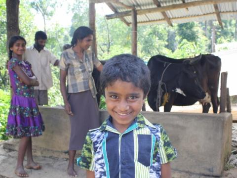 Five-year old Asanka smiles for camera