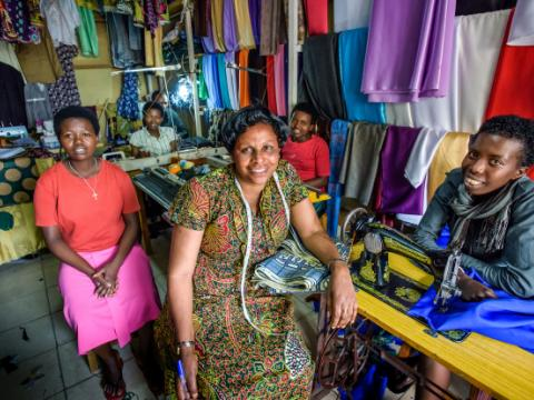 VisionFund client Jacqueline at sewing business