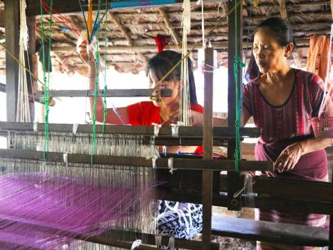 Traditional weaving business producing traditional Kayin costumes for women