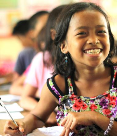Girl in her classroom in the Philippines